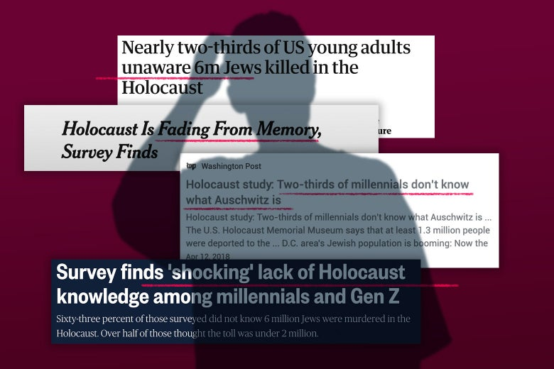 A shadow of a person scratching their head is cast over headlines about Holocaust knowledge statistics.