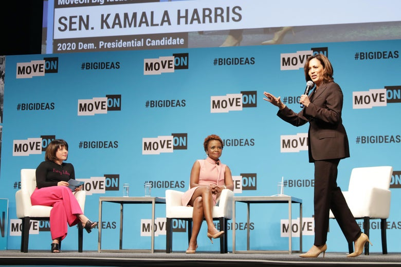 Stephanie Valencia, Karine Jean-Pierre and Kamala Harris speak onstage at the MoveOn Big Ideas Forum at The Warfield Theatre on June 1, 2019 in San Francisco, California.