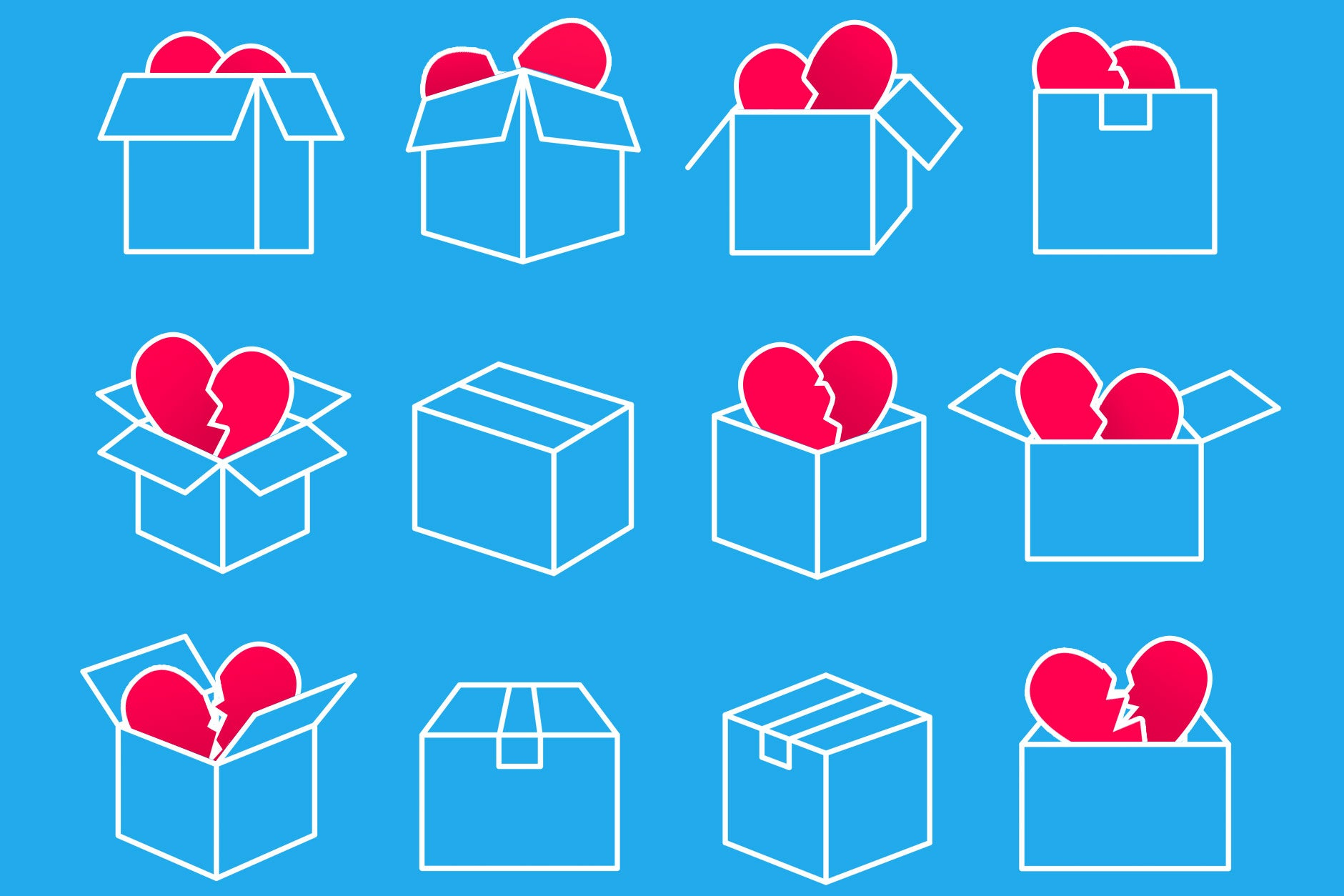 Photo illustrations of various moving boxes filled with broken hearts.