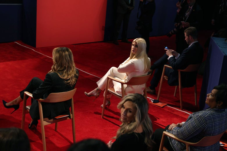 Ivanka Trump turns around in attendance at the presidential debate.