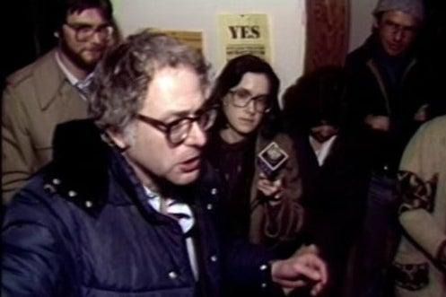 Screenshot of video of Bernie Sanders celebrating electoral victory in 1980.