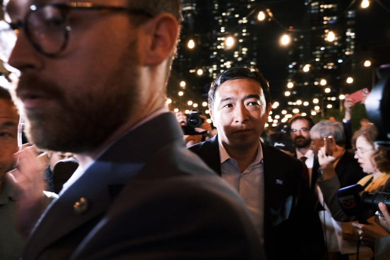 NEW YORK, NEW YORK - JUNE 22: Mayoral candidate Andrew Yang greets supporters at a Manhattan hotel as he concedes in his campaign for mayor on June 22, 2021 in New York City. Early polls showed Yang, who has never held a political office before, far behind other candidates in the Democratic primary. Ranked choice voting is being used for the first time, a system that lets voters prioritize more than one candidate on their ballot. The winner of the Democratic primary will face off against the Republican candidate in the fall (Photo by Spencer Platt/Getty Images)