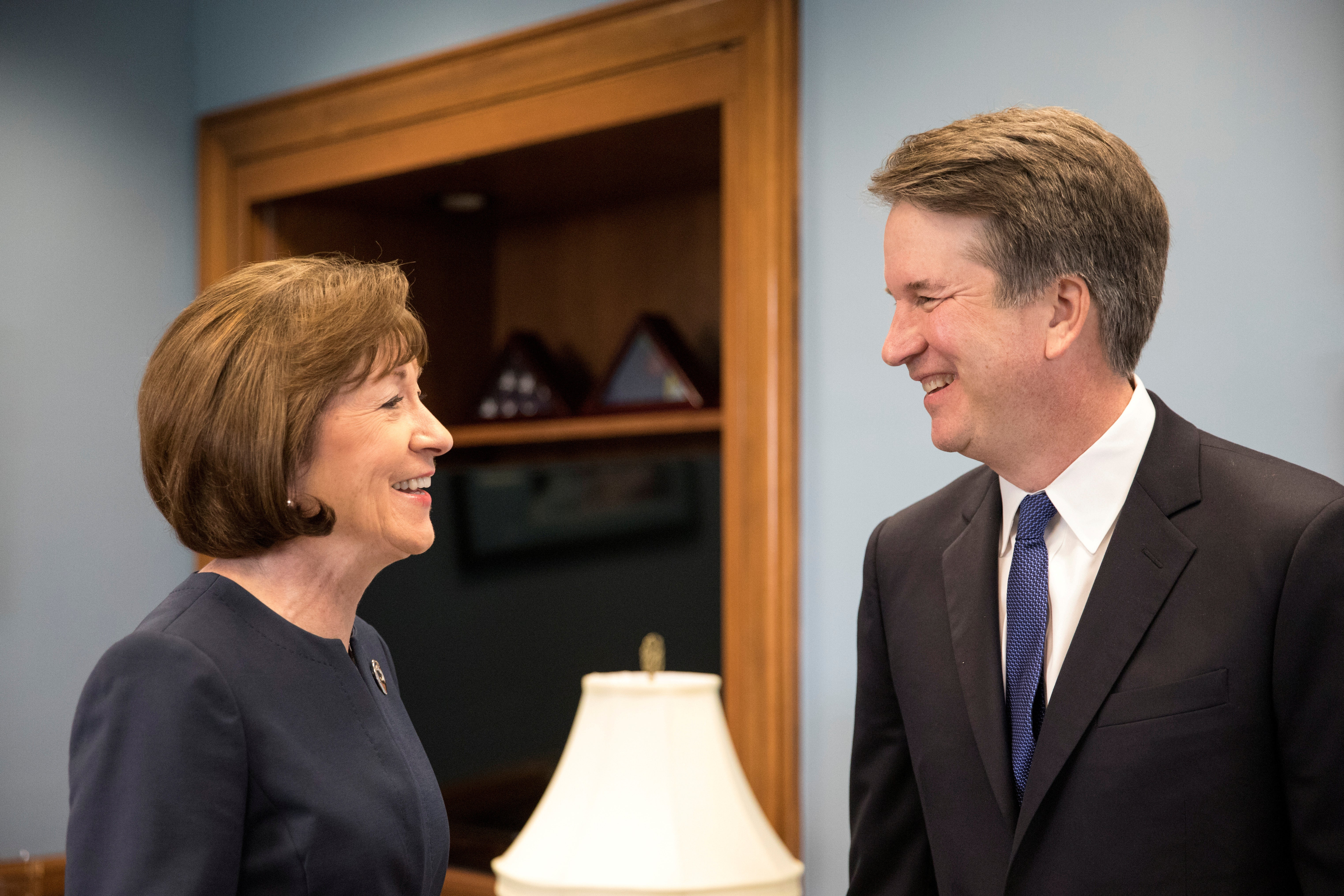 Sen. Susan Collins meets with Brett Kavanaugh before voting to confirm him to the Supreme Court.