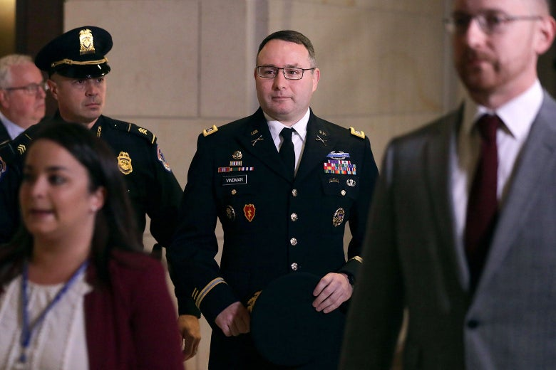 Army Lieutenant Colonel Alexander Vindman walking through Congress in his military uniform on October 29, 2019.