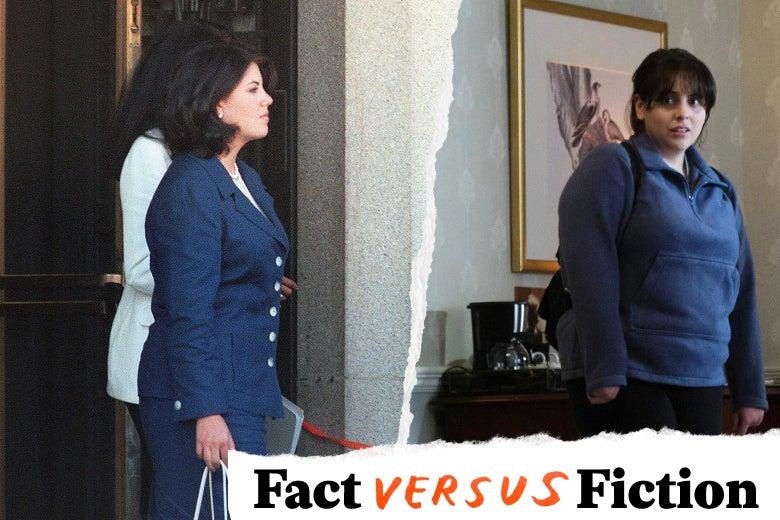 Monica Lewinsky, and Beanie Feldstein as Monica Lewinsky in Impeachment