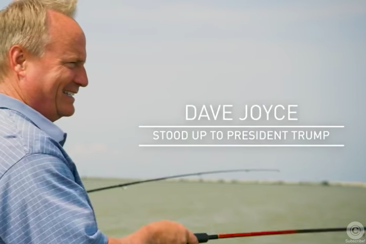 A still from Rep. Dave Joyce's ad, showing the congressman fishing on Lake Erie.