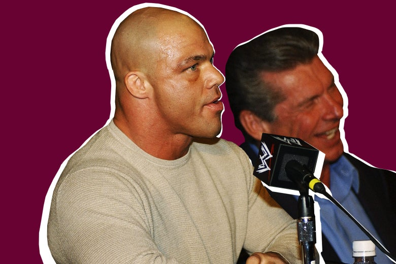 Photo illustration: World Wrestling Entertainment Wrestler Kurt Angle and Chairman Vince McMahon attend a media conference on March 18, 2003, in New York City.