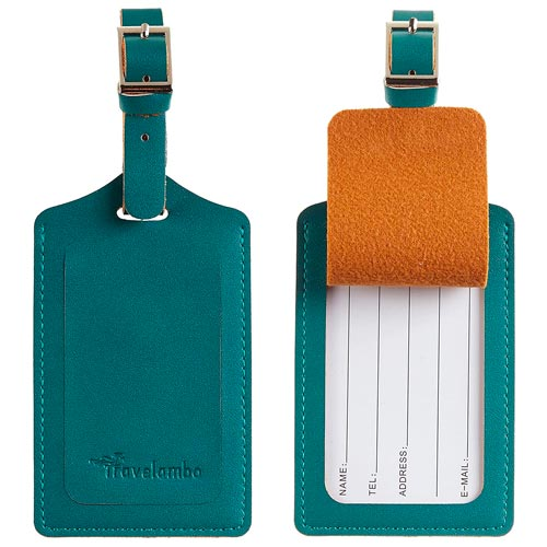 A teal leather luggage tag.