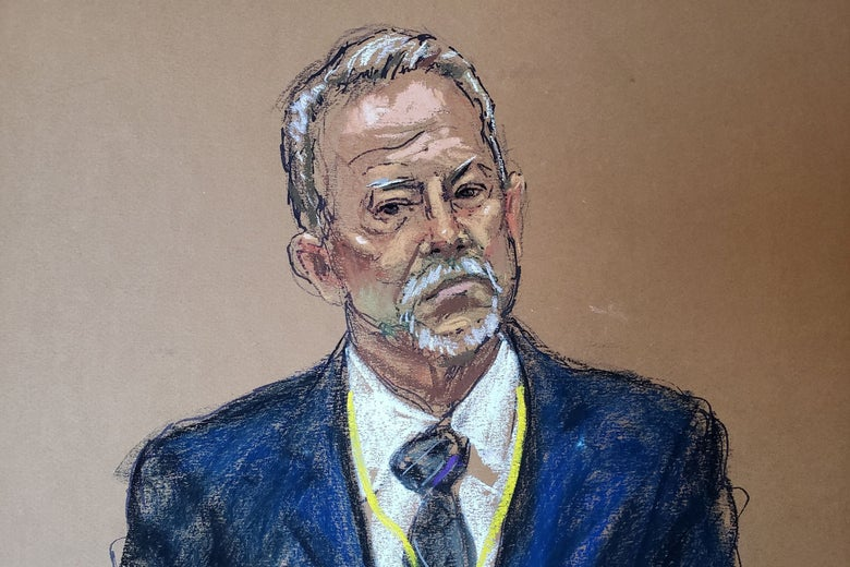A courtroom sketch of the head and torso of Brodd in the witness stand