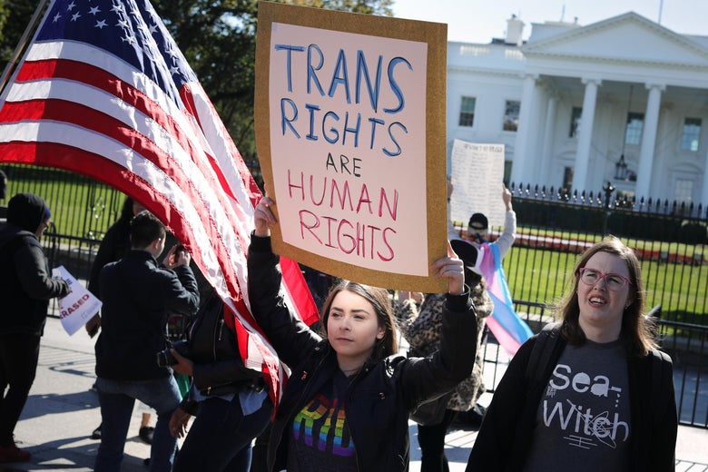 "A protester carries a ""trans rights are human rights"" sign at a transgender rights rally in front of the White House."