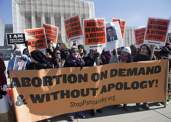 """Members of """"Stop Patriarchy"""" demonstrate to support legal abortions in front of the Supreme Court."""