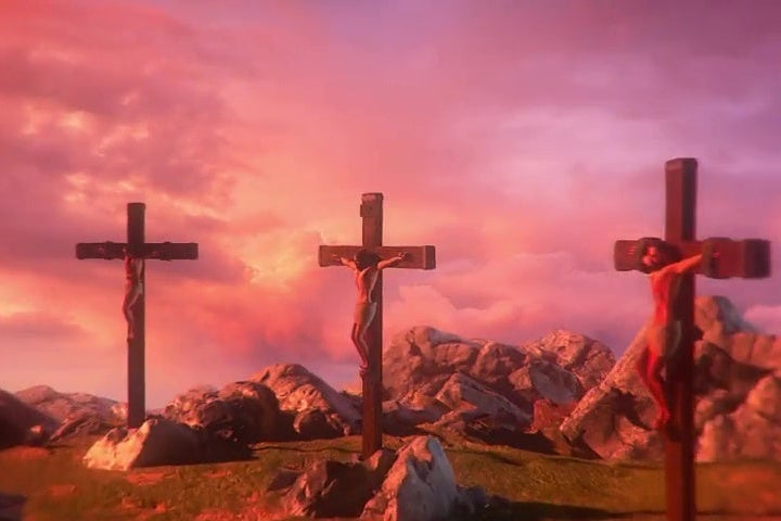 A screenshot from the video game I Am Jesus Christ depicting the three crosses atop Golgotha, mid-crucifixion.