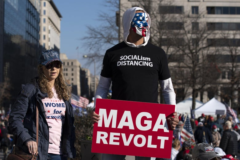 Supporters of President Donald Trump rally at Freedom Plaza to protest the outcome of the 2020 presidential election on December 12, 2020 in Washington, D.C.
