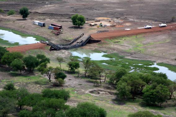 The only bridge that crosses the river south of Abyei town was destroyed by Sudanese government forces on May 25.