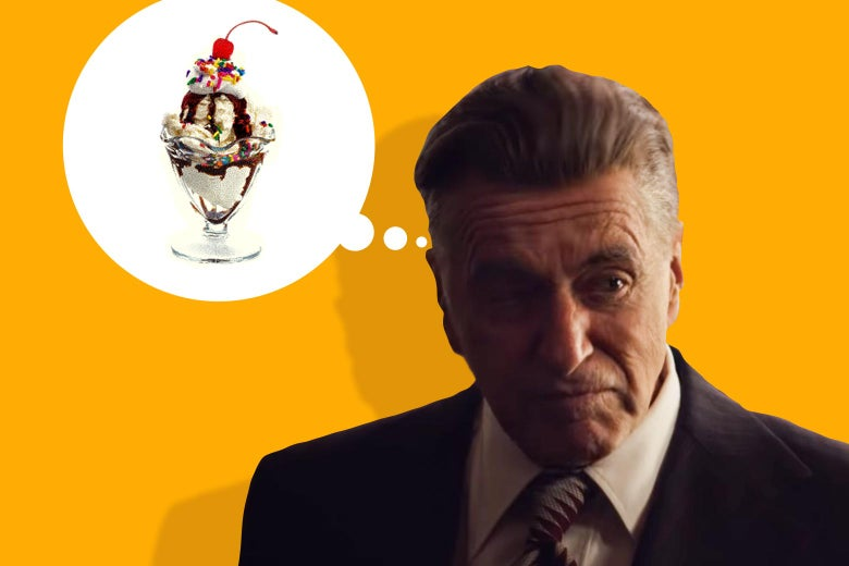 Illustration of Al Pacino as Jimmy Hoffa thinking about an ice cream sundae.