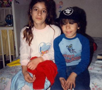 Esparza as a child with one of her brothers.