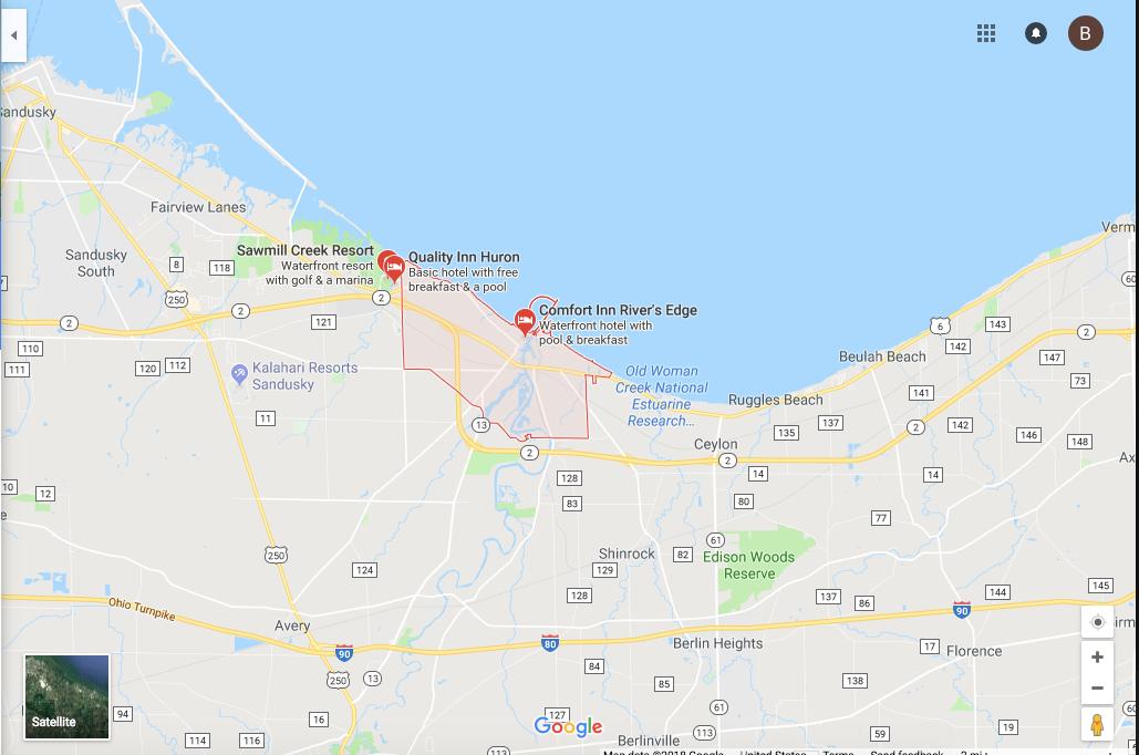 A Google Map of Huron, Ohio.
