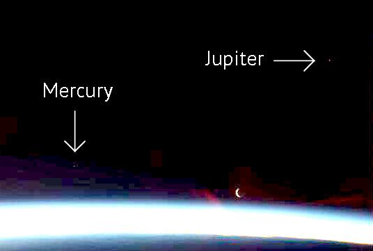 Mercury and Jupiter seen from space