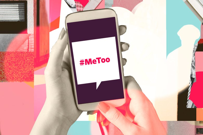 Collage of woman holding a smartphone with #metoo app.