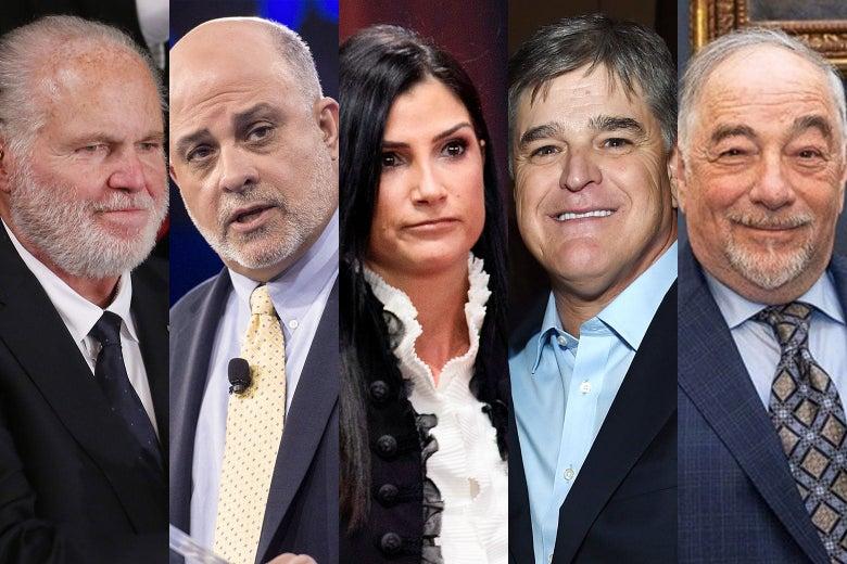 Rush Limbaugh, Mark Levin, Dana Loesch, Sean Hannity, and Michael Savage.