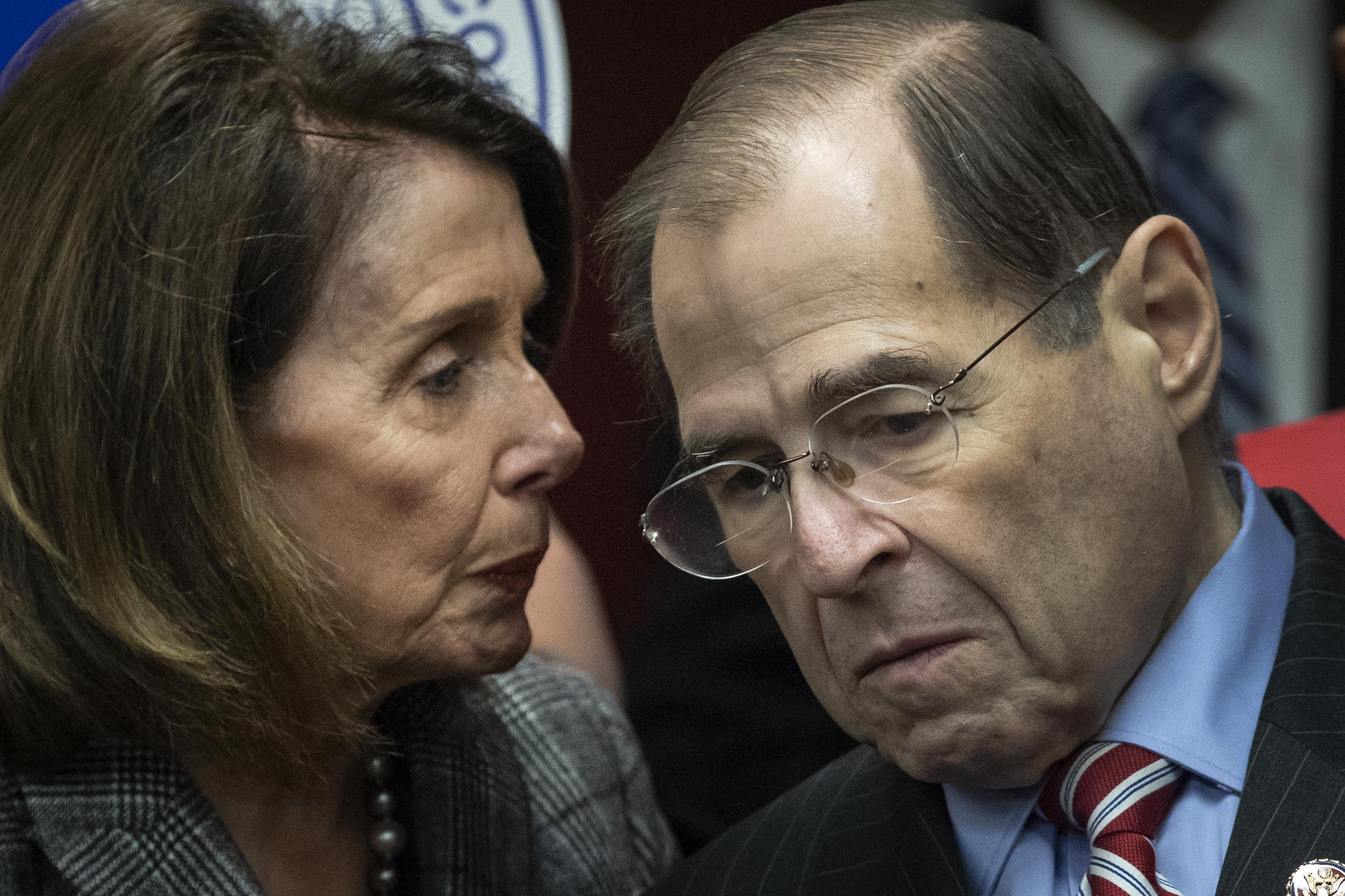 Speaker of the House Nancy Pelosi (D-CA) speaks with House Judiciary Committee Chairman Rep. Jerrold Nadler (D-NY).