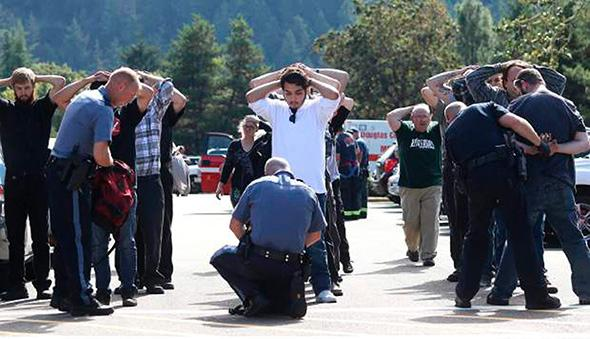 Bag inspection after shooting at Umpqua Community College Oregon