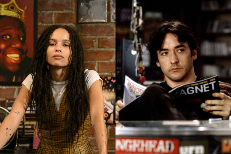 Zoë Kravitz as Rob in the Hulu show High Fidelity on the left, and a still of John Cusack as Rob in 2000's High Fidelity movie on the right.