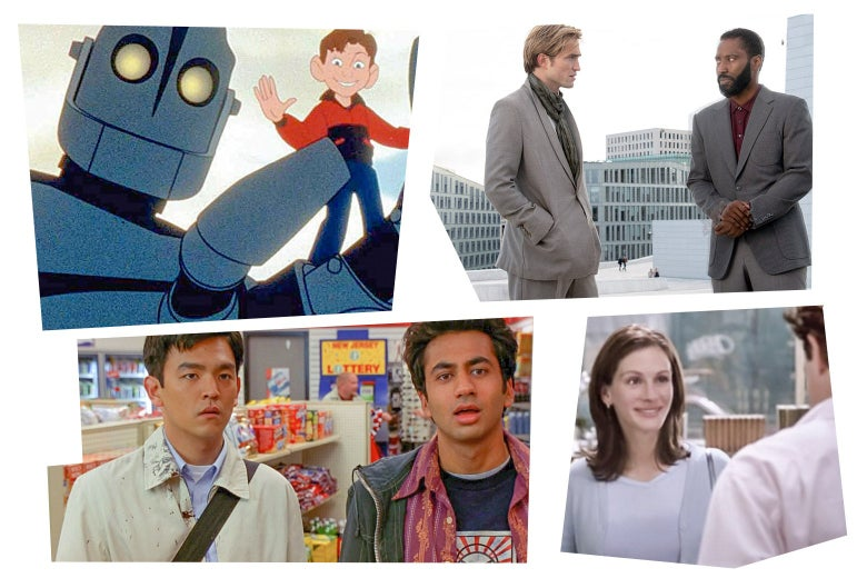 Stills from Harold and Kumar, The Iron Giant, Tenet, and Notting Hill.