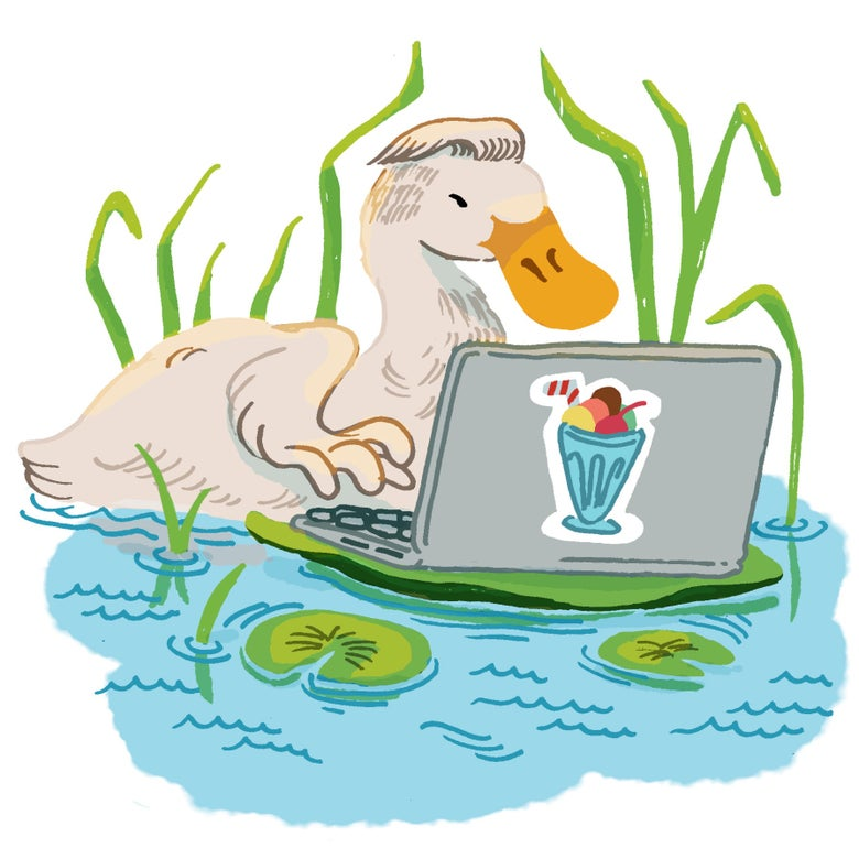 Illustration of a duck working on a laptop in a pond. There's a milkshake sticker on the laptop.