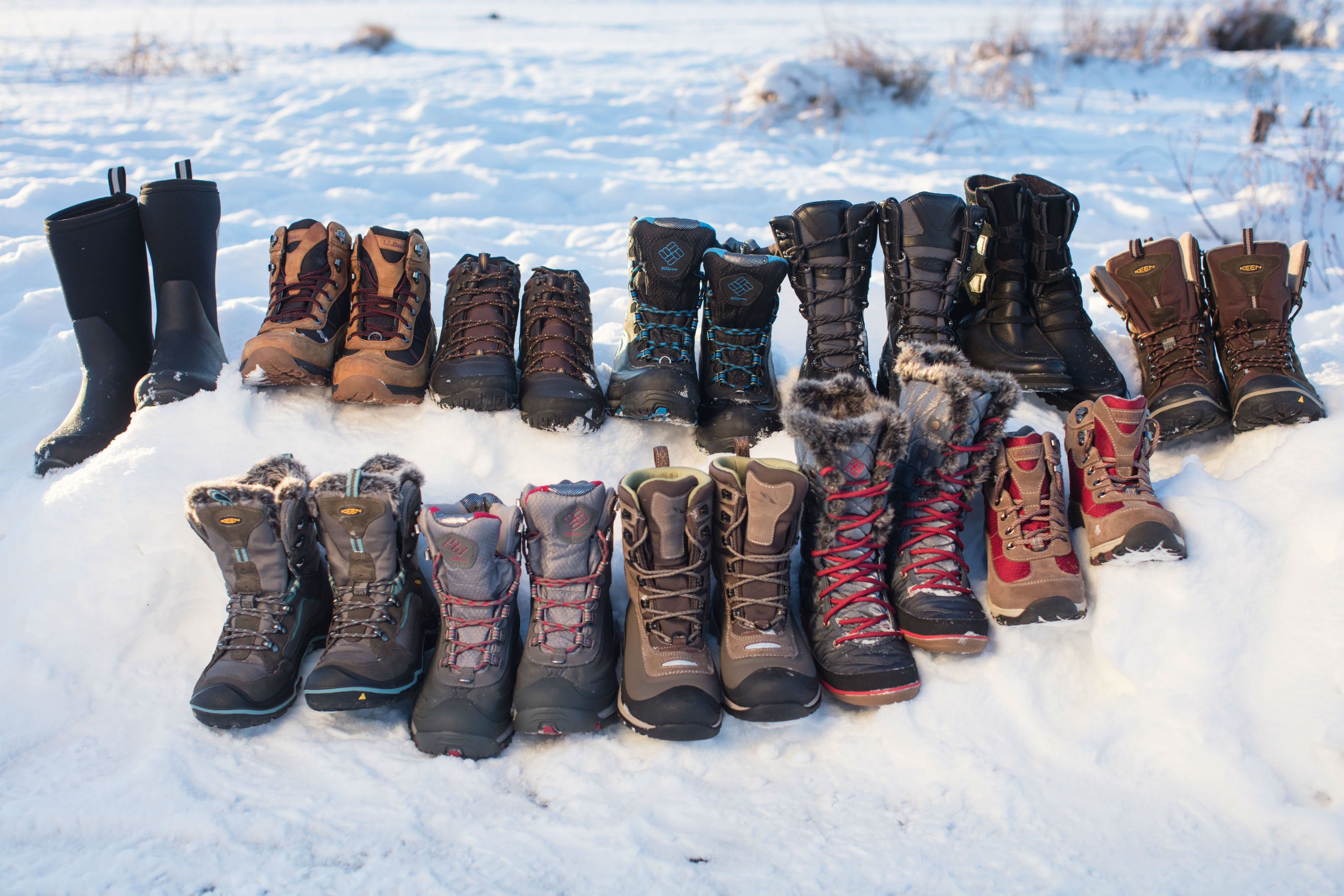 Assorted winter boots.