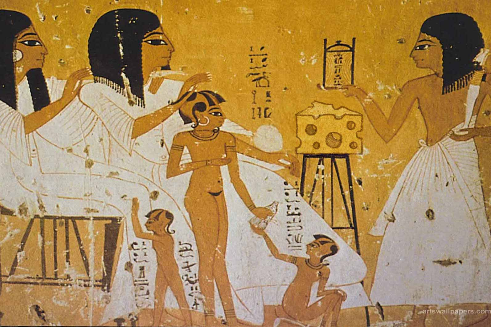 Artist's depiction of how great it must have been to eat this tomb cheese when it was fresh.