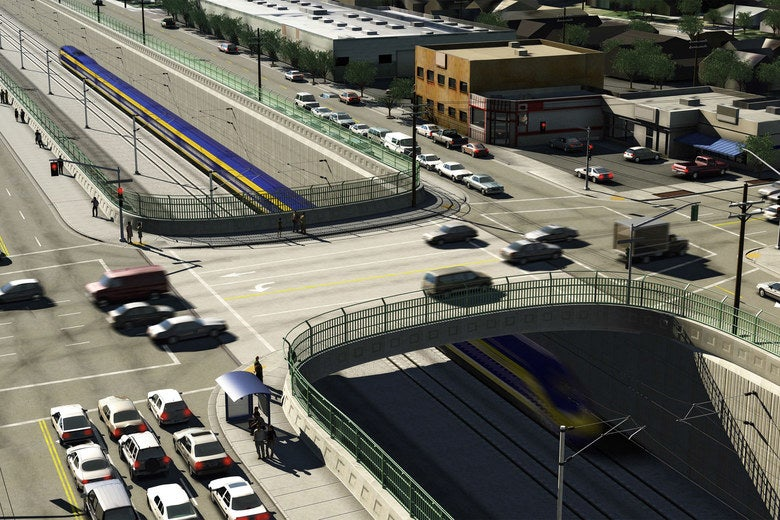 A road passes over a high-speed train in a rendering.
