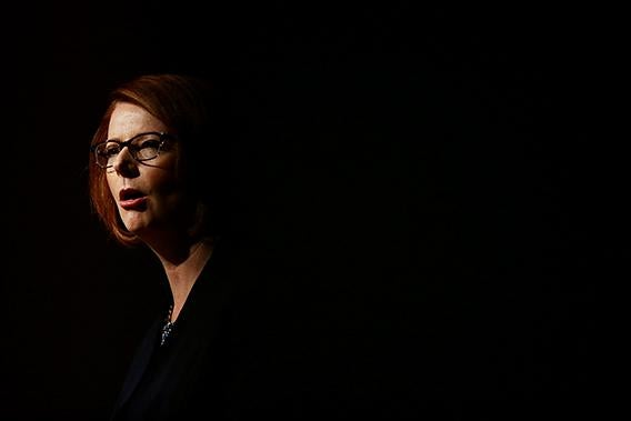 Australian Prime Minister, Julia Gillard addresses party members at the University of Western Sydney on March 3, 2013 in Sydney, Australia.