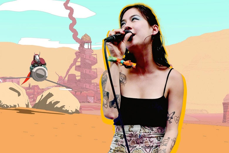 Michelle Zauner sings into a microphone. In the background is an image from the Sable video game.