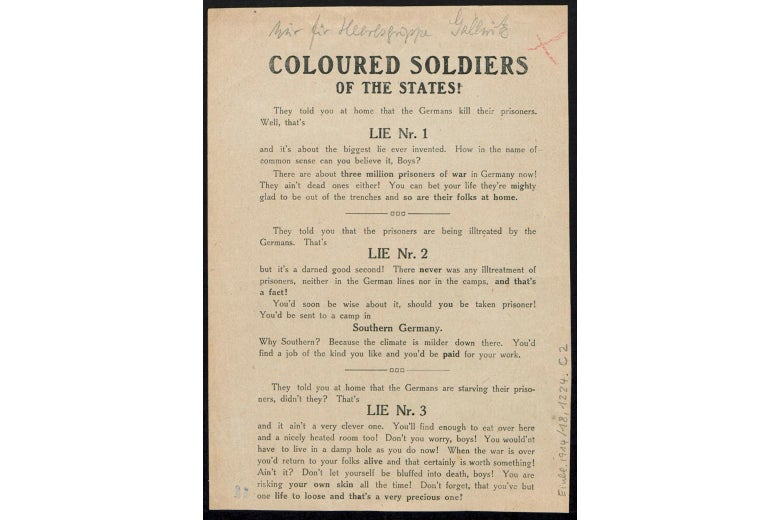 A world war I propaganda flyer; the text is transcribed below.
