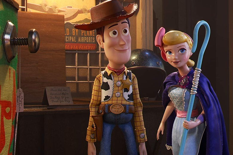 Woody and Bo Peep in Toy Story 4.