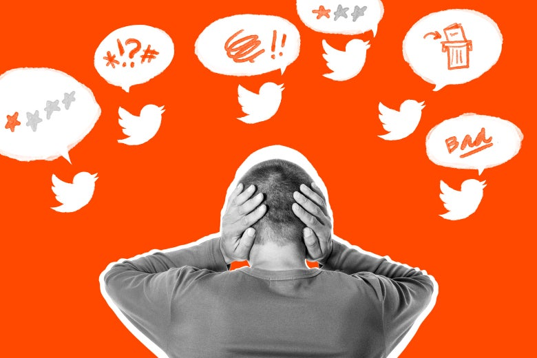 An author covering her ears as she's deluged by negative tweets