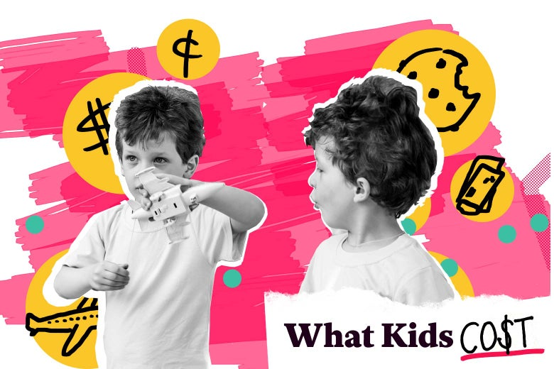Photo illustration of twin boys against several logos denoting what money spent on them was used for.