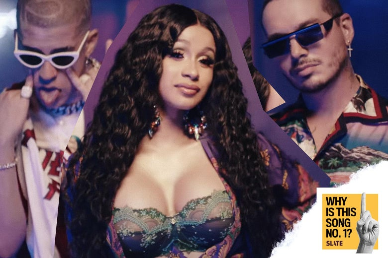 "Cardi B, Bad Bunny, and J Balvin in the music video for ""I Like It."""