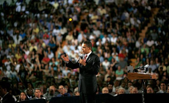 Then Democratic presidential candidate Sen. Barack Obama speaks at a town hall meeting in July 2008 in Virginia.