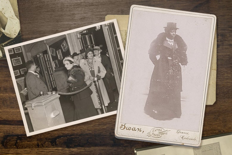 Two photos on a table show Black women dressed to the nines in fancy clothing. One woman is wearing a fur stole, ankle-length skirt and a lovely hat.