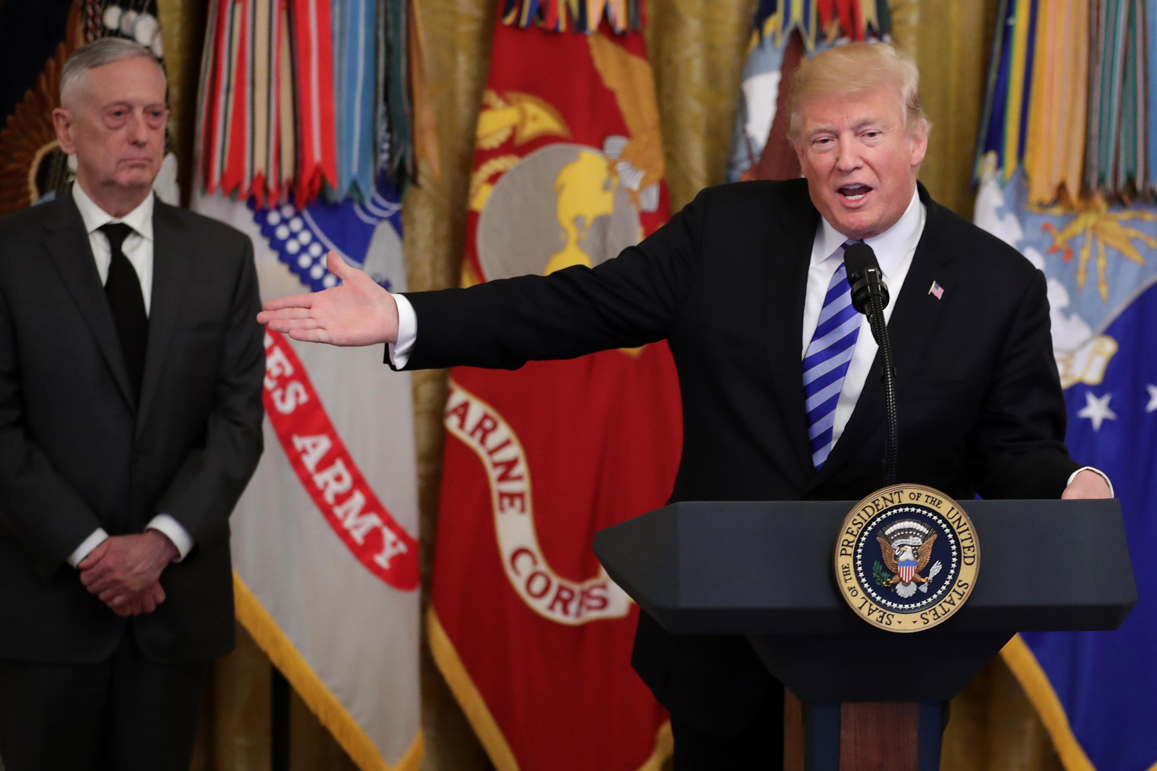 President Donald Trump hosts a reception commemorating the 35th anniversary of attack on the Beirut Barracks with Secretary of Defense James Mattis in the East Room of the White House October 25, 2018 in Washington, D.C.