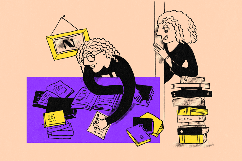 Illustration of a mother peering into a room where her daughter sits at a desk surrounded by law books.