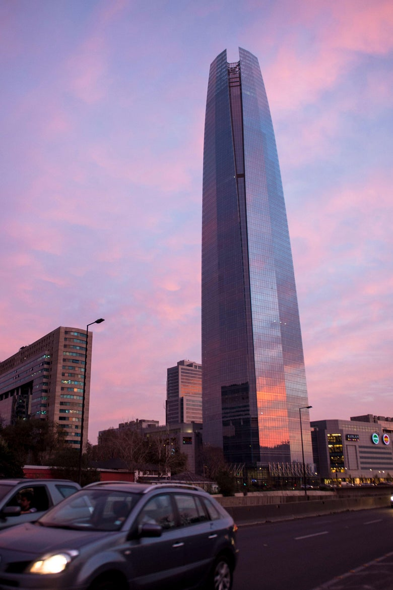 View of the Costanera Center complex in Santiago, on September 14, 2019. - Costanera Center, a symbol of economic growth, is also becoming a symbol of tragedy. At least 12 people committed suicide there. (Photo by Martin BERNETTI / AFP)        (Photo credit should read MARTIN BERNETTI/AFP/Getty Images)