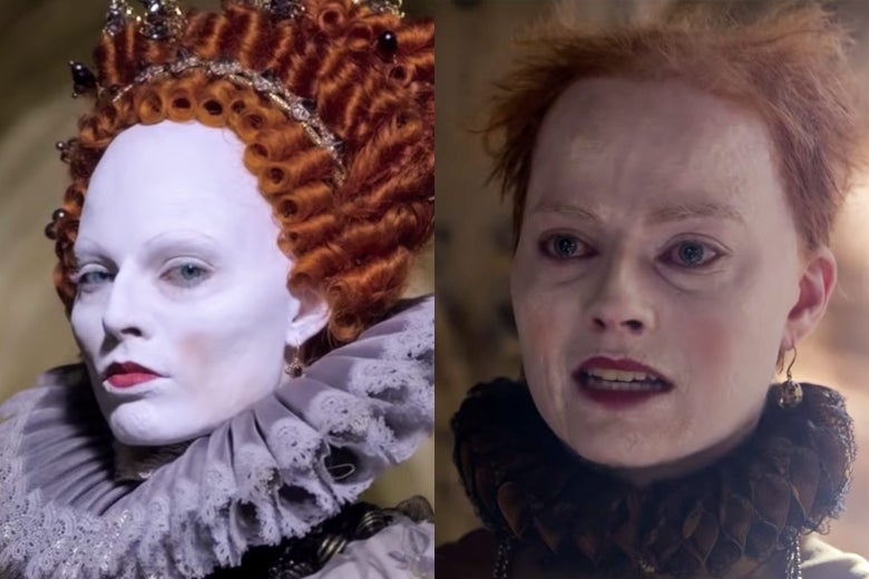 Margot Robbie as Queen Elizabeth I in Mary Queen of Scots.