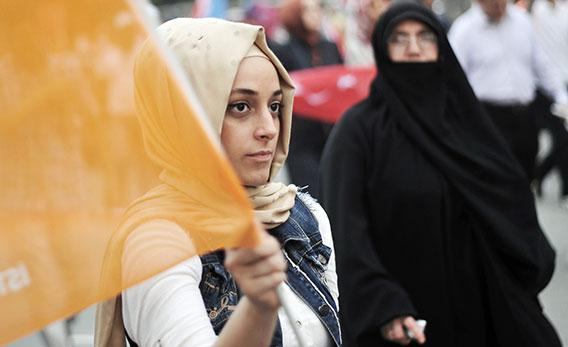 A supporter of Turkish Prime Minister Recep Tayyip Erdogan during a rally on June 16, 2013, in Istanbul.
