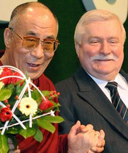 The Dalai Lama and Lech Walesa. Click image to expand.