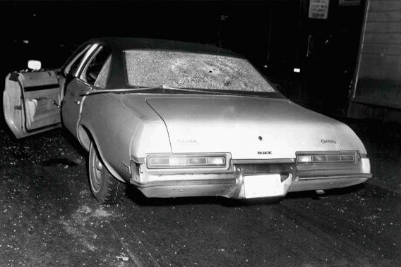 "A vehicle with bullet holes and broken glass which was shown to jurors hearing the racketeering and murder trial of accused Boston mob boss James ""Whitey"" Bulger"