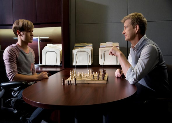 Rusty (Patrick Graham Martin) and his new therapist (Bill Brochtrup) in Major Crimes.