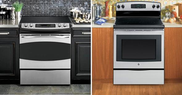 "GE Profile™ Series 30"" Slide-In Electric Range stove, left, and GE(R) 30"" Free-Standing Electric Range stove."